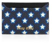 Miu MiuMiu Miu Star-Print Leather Card Case