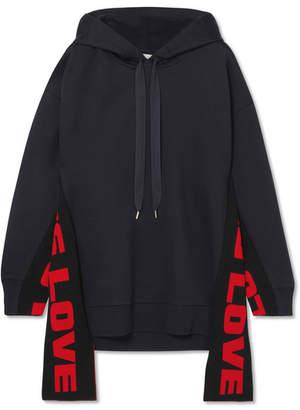 Stella McCartney Oversized Paneled Cotton-blend Jersey Hooded Top - Midnight blue