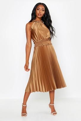 boohoo Shirred Waist Pleated Midi Dress