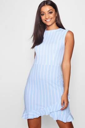 boohoo Tall Pinstripe Asymmetric Ruffle Dress