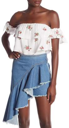 Dance and Marvel Embroidered Off-the-Shoulder Blouse