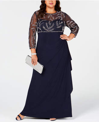 Betsy & Adam Plus Size Beaded Ruched Gown