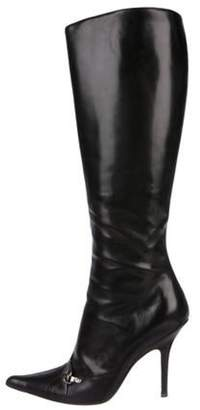 Christian Dior Leather Knee-High Boots Black Leather Knee-High Boots
