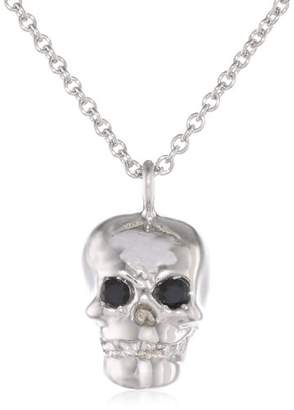 "Rotenier Skull"" Sterling Black Spinel on a Chain Pendant Necklace Set"