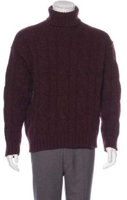 Burberry Cable Knit Wool Turtleneck Sweater