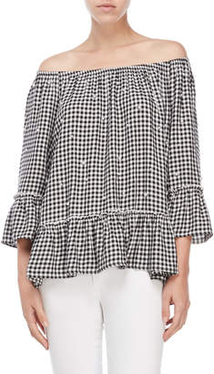 Fever Gingham Faux Pearl Off-the-Shoulder Top