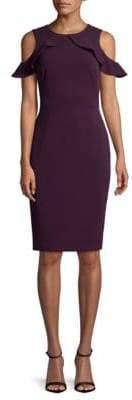 Calvin Klein Cold-Shoulder Crepe Sheath Dress