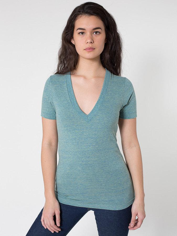 Unisex Tri-Blend Short Sleeve Deep V-Neck
