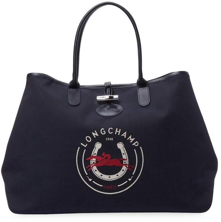 Longchamp Women's Logo Tote Bag - DARK BLUE/NAVY - STYLE