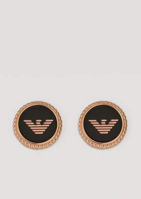 Emporio Armani Stainless Steel Button Earrings With Logo Details
