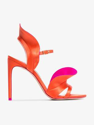 Sophia Webster orange and pink Lucia 100 satin ruffle sandals