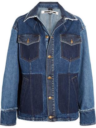 McQ Alexander McQueen - Patchwork Frayed Denim Jacket - Indigo $490 thestylecure.com