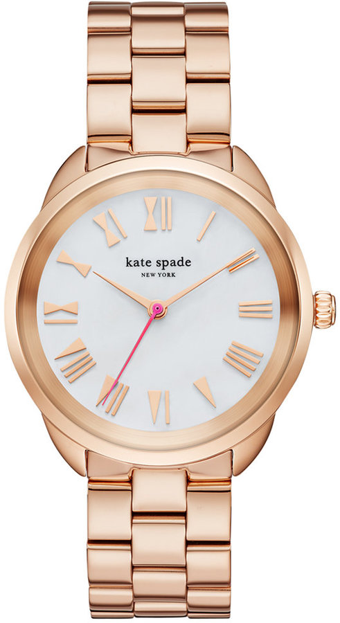 Kate Spadekate spade new york Women's Crosstown Rose Gold-Tone Stainless Steel Bracelet Watch 34mm KSW1091