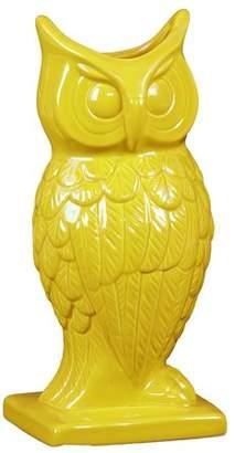 Benzara Spectacular & Magnificent Ceramic Owl Figurine Vase In Yellow Large