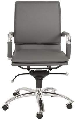 Euro Style Gunar Pro Low Back Office Chair in Gray With Chromed Steel Base