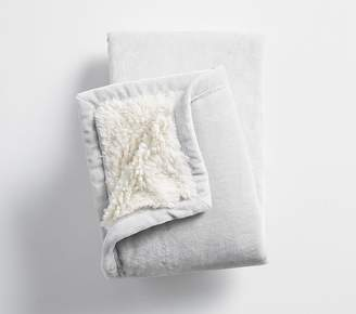 Pottery Barn Kids Sherpa Baby Blanket, Gray/Ivory