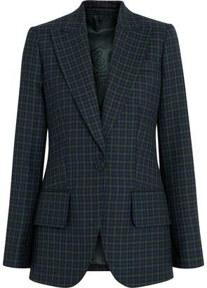 Burberry Check Stretch Wool Blazer