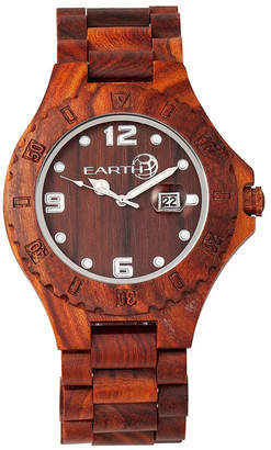 Earth Wood Raywood Wood Bracelet Watch W/Date Red 47Mm