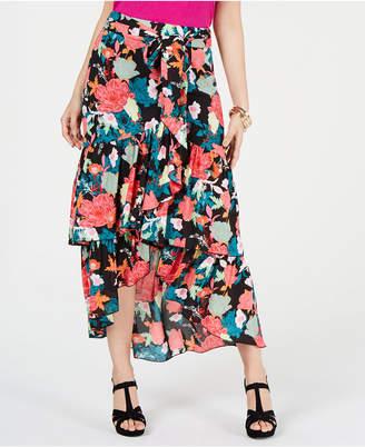 Thalia Sodi Printed Wrapped Ruffle Skirt
