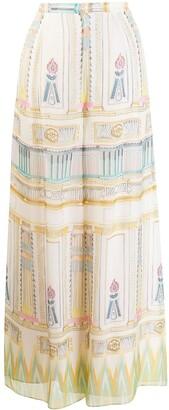 Temperley London Athena printed chiffon trousers