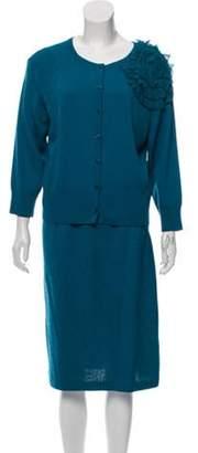 St. John Long Sleeve Knit Skirt Set Blue Long Sleeve Knit Skirt Set