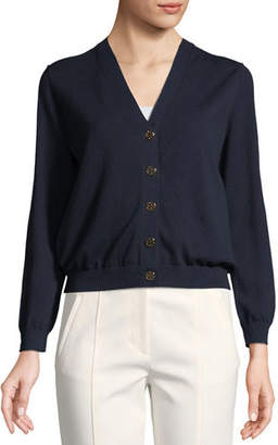 Tory Burch Margeaux Cotton Crepe Cardigan
