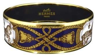 Hermes Gold Tone Metal Cloisonne Green Enamel Horse Cheval Bangle Bracelet