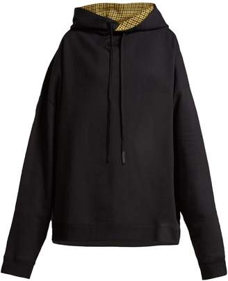 Raf Simons Houndstooth-panel cotton hooded sweatshirt