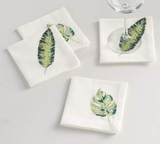 Pottery Barn Palm Embroidered Cocktail Napkins, Set of 4