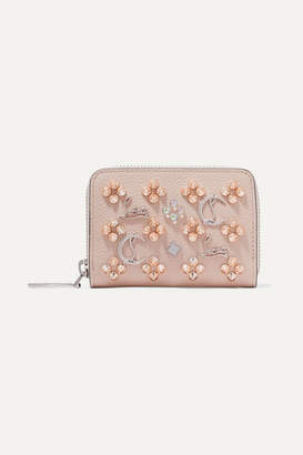 Christian Louboutin Panettone Spiked Textured-leather Wallet - Baby pink