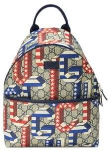 Gucci Kid's Game 70 Canvas Backpack - Beige Multi
