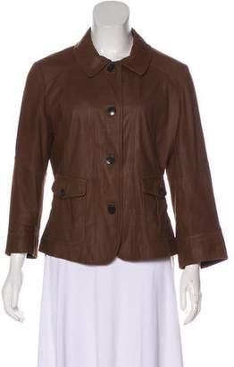 Max Mara Weekend Leather Long Sleeve Jacket