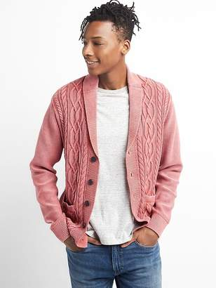 Cable-Knit Shawl Cardigan Sweater in Combed Cotton
