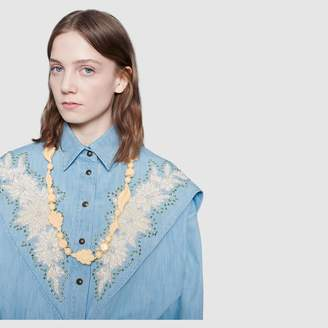 Gucci Resin leaf bead necklace