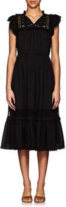 Ulla Johnson Women's Elvina Embroidered Cotton Voile Midi-Dress - Black