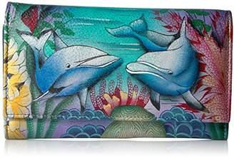 Anuschka Women's Genuine Leather Clutch Wallet | Hand painted Original Artwork |