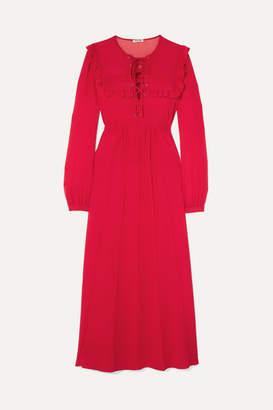 Miu Miu Ruffled Silk-georgette Midi Dress - Red