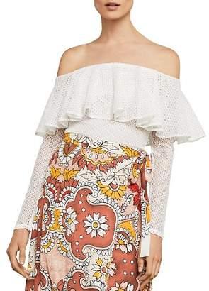 BCBGMAXAZRIA Ruffled Off-the-Shoulder Lace Bodysuit