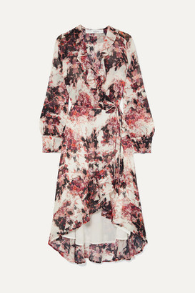 IRO Ruffle-trimmed Floral-print Georgette Wrap Dress - Ecru