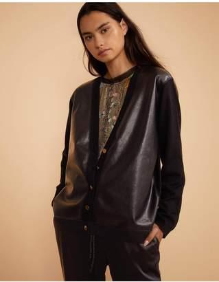 Cynthia Rowley Houston Faux Leather Panel Cardigan