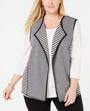 Alfred Dunner Plus Size Grand Boulevard Reversible Vest