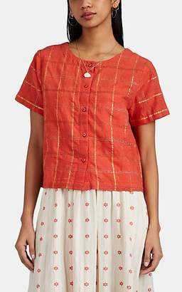 Ace&Jig Women's Ollie Checked Cotton-Blend Boxy Top - Orange
