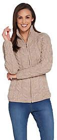 Kilronan Merino Wool Zip Front Sweater withStand Collar