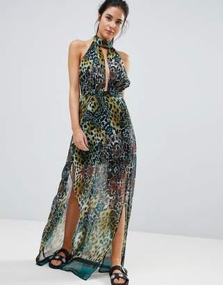 PrettyLittleThing High Neck Leopard Print Maxi Beach Dress