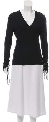 Versace Long Sleeve V-Neck Top