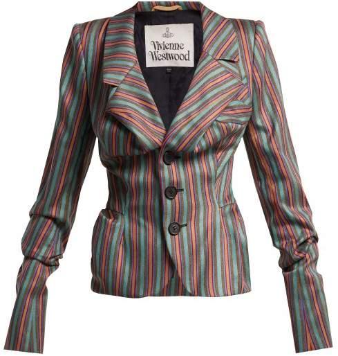 Striped Sateen Jacket - Womens - Multi