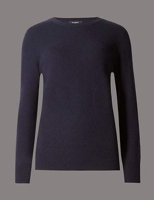 Marks and Spencer Pure Cashmere Ribbed Round Neck Jumper