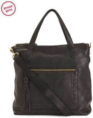 Leather Tote With Detachable Crossbody Strap