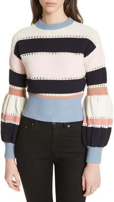 Self-Portrait Stripe Puff Sleeve Crop Sweater
