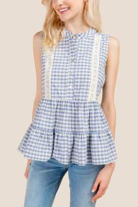 Ginny Gingham Baby Doll Lace Detail Sleeveless Top - Chambray
